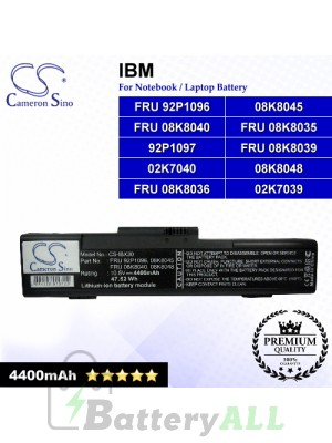 CS-IBX30 For IBM Laptop Battery Model 02K7039 / 02K7040 / 08K8045 / 08K8048 / 92P1097 / FRU 08K8035
