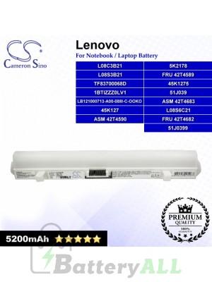 CS-IBS9HB For Lenovo Laptop Battery Model 1BTIZZZ0LV1 / 45K127 / 45K1275 / 45K2178 / 51J039 / 51J0399 (White)