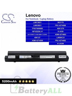 CS-IBS9HT For Lenovo Laptop Battery Model 1BTIZZZ0LV1 / 45K127 / 45K1275 / 51J039 / 51J0399 / 5K2178 (Black)