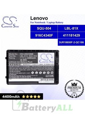 CS-LVE410NB For Lenovo Laptop Battery Model 3UR18650F-2-QC186 / 411181429 / 916C4340F / LBL-81X / SQU-504 (Black)