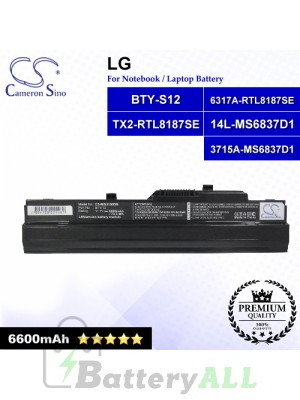 CS-MSU100DB For LG Laptop Battery Model 14L-MS6837D1 / 3715A-MS6837D1 / 6317A-RTL8187SE / BTY-S11 / TX2-RTL8187SE (Black)