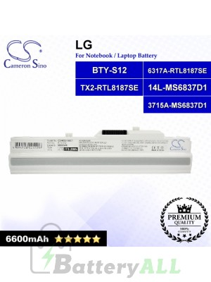 CS-MSU100DT For LG Laptop Battery Model 14L-MS6837D1 / 3715A-MS6837D1 / 6317A-RTL8187SE / BTY-S12 / TX2-RTL8187SE (White)