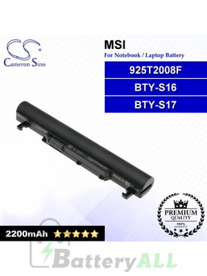 CS-MSU160NB For MSI Laptop Battery Model 925T2008F / BTY-S16 / BTY-S17
