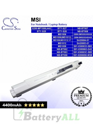 CS-MSX320NP For MSI Laptop Battery Model 0299-MP1006J443 / BTY-S25 / BTY-S27 / BTY-S28 / GBM-BMS050ABA00 (Pearl)
