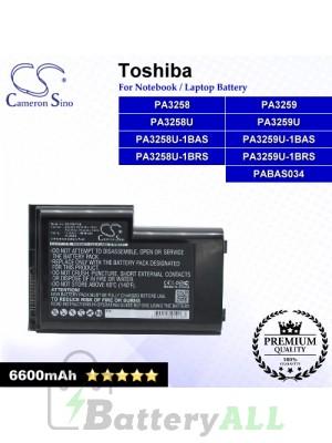 CS-TOV7HB For Toshiba Laptop Battery Model PA3258 / PA3258U / PA3258U-1BAS / PA3258U-1BRS / PA3259