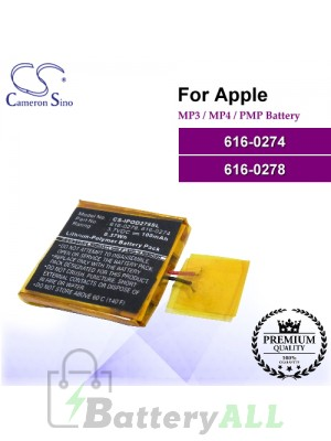 CS-IPOD278SL For Apple Mp3 Mp4 PMP Battery Model 616-0274 / 616-0278