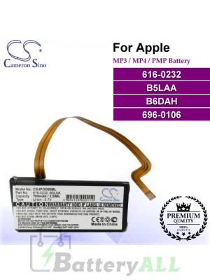 CS-IPOD60ML For Apple Mp3 Mp4 PMP Battery Model 616-0232 / 696-0106 / B5LAA / B6DAH