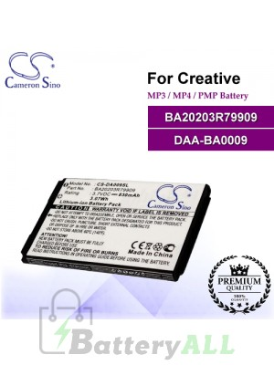 CS-DA009SL For Creative Mp3 Mp4 PMP Battery Model BA20203R79909 / DAA-BA0009