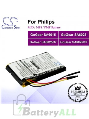 CS-PS025SL For Philips Mp3 Mp4 PMP Battery Fit Model GoGear SA6015 / GoGear SA6025 / GoGear SA6025/37 / GoGear SA6025/97