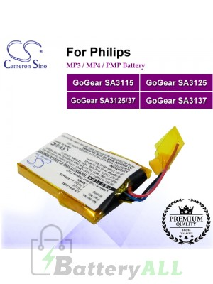 CS-PS125SL For Philips Mp3 Mp4 PMP Battery Fit Model GoGear SA3115 / GoGear SA3125 / GoGear SA3125/37 / GoGear SA3137