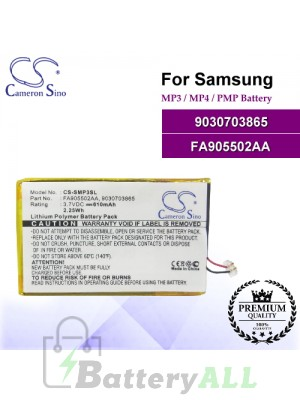 CS-SMP3SL For Samsung Mp3 Mp4 PMP Battery Model 9030703865 / FA905502AA