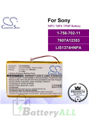 CS-SA805SL For Sony Mp3 Mp4 PMP Battery Model 1-756-702-11 / 7607A12353 / LIS1374HNPA