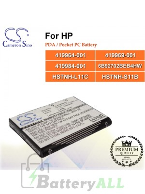 CS-HIQ100SL For HP PDA / Pocket PC Battery Model 419964-001 / 419969-001 / 419984-001 / 6B92702BEB4HW / HSTNH-L11C / HSTNH-S11B