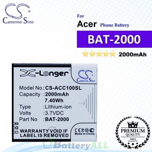 CS-ACC100SL For Acer Phone Battery Model BAT-2000