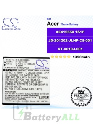 CS-ACE350SL For Acer Phone Battery Model AE415550 1S1P / JD-201202-JLNP-C8-001 / KT.0010J.001