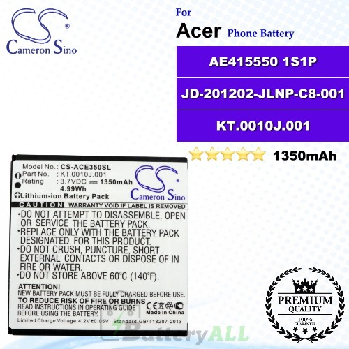 CS-ACE350SL For Acer Phone Battery Model AE415550 1S1P / JD-201202-JLNP-C8-001 / KT.0010J.001