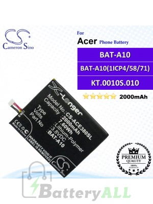CS-ACE380SL For Acer Phone Battery Model BAT-A10 / BAT-A10(1ICP4/58/71) / KT.0010S.010