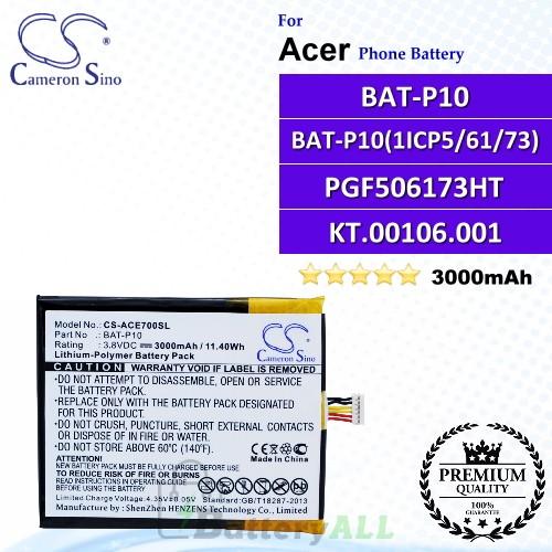 CS-ACE700SL For Acer Phone Battery Model BAT-P10 / BAT-P10 (1ICP5/61/73) / PGF506173HT / KT.00106.001