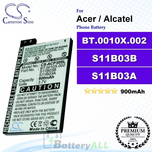 CS-ACP30SL For Acer Phone Battery Model BT.0010X.002 / S11B03B