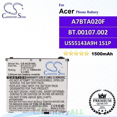 CS-ACS10SL For Acer Phone Battery Model US55143A9H 1S1P / A7BTA020F / BT.00107.002