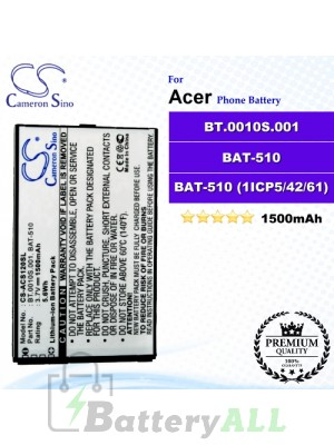 CS-ACS120SL For Acer Phone Battery Model BT.0010S.001 / BAT-510 / BAT-510 (1ICP5/42/61) / ICP494261SRU 1S1P / BT0010S00111308990BATA1