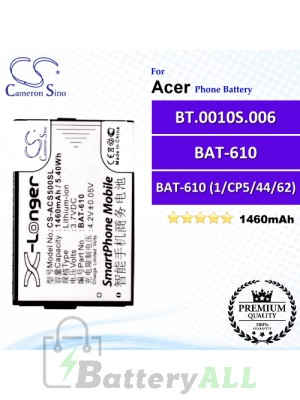 CS-ACS500SL For Acer Phone Battery Model BAT-610 / BAT-610 (1/CP5/44/62) / BT.0010S.006