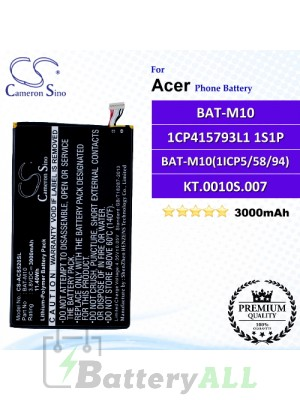 CS-ACS520SL For Acer Phone Battery Model BAT-M10 / 1CP415793L1 1S1P / BAT-M10(1ICP5/58/94) / KT.0010S.007