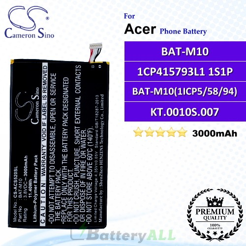 CS-ACS520SL For Acer Phone Battery Model BAT-M10 / 1CP415793L1 1S1P / BAT-M10(1ICP5/58/94) / KT.0010S.007