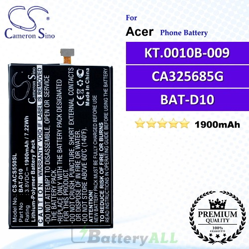 CS-ACS550SL For Acer Phone Battery Model BAT-D10 / CA325685G / KT.0010B-009