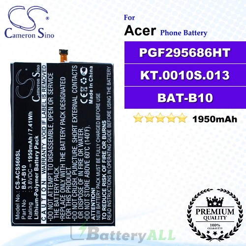 CS-ACS560SL For Acer Phone Battery Model BAT-B10 / PGF295686HT / KT.0010S.013
