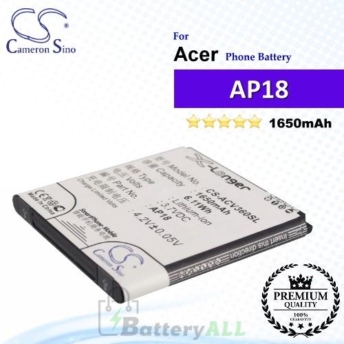 CS-ACV360SL For Acer Phone Battery Model AP18