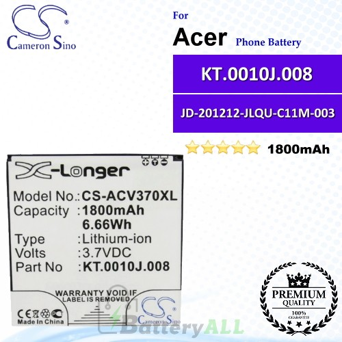 CS-ACV370XL For Acer Phone Battery Model KT.0010J.008 / JD-201212-JLQU-C11M-003