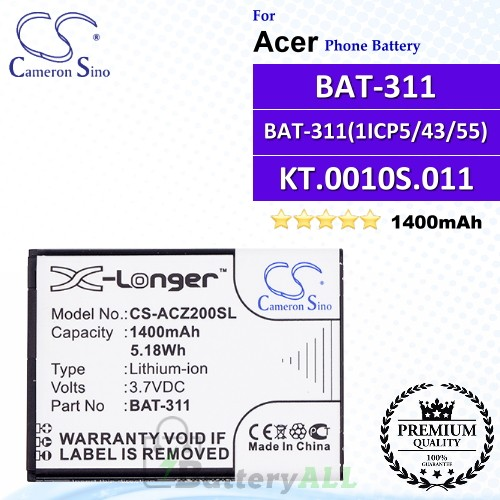 CS-ACZ200SL For Acer Phone Battery Model BAT-311 / BAT-311(1ICP5/43/55) / KT.0010S.011