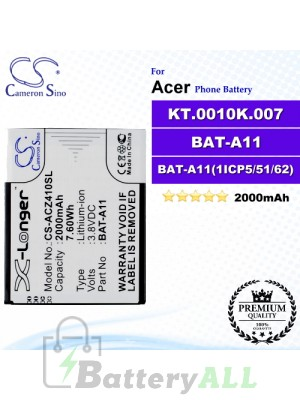 CS-ACZ410SL For Acer Phone Battery Model BAT-A11 / BAT-A11(1ICP5/51/62) / KT.0010K.007