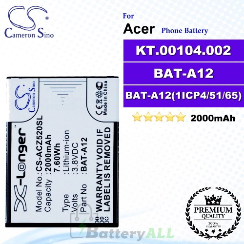 CS-ACZ520SL For Acer Phone Battery Model BAT-A12 / BAT-A12(1ICP4/51/65) / KT.00104.002