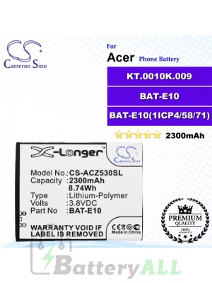 CS-ACZ530SL For Acer Phone Battery Model BAT-E10 / KT.0010K.009 / BAT-E10(1ICP4/58/71)