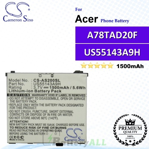 CS-AS200SL For Acer Phone Battery Model US55143A9H / A78TAD20F