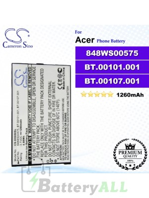CS-DX650SL For Acer Phone Battery Model 848WS00575 / BT.00101.001 / BT.00107.001