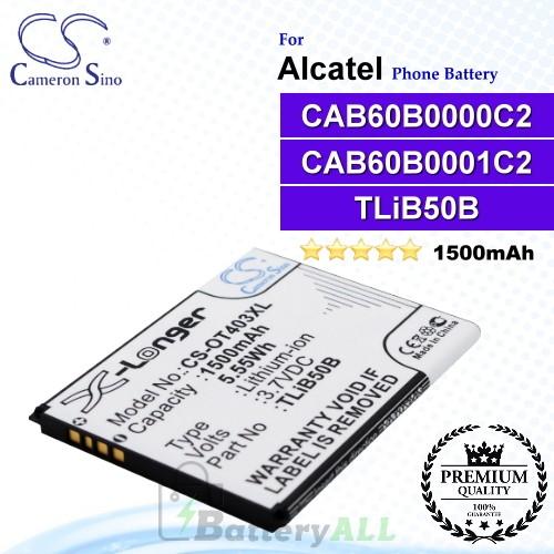 CS-OT403XL For Alcatel Phone Battery Model CAB60B0000C2 / CAB60B0001C2 / TLiB50B