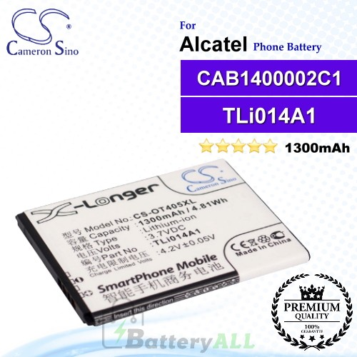CS-OT405XL For Alcatel Phone Battery Model CAB1400002C1 / CAB31C00002C1 / TLi014A1