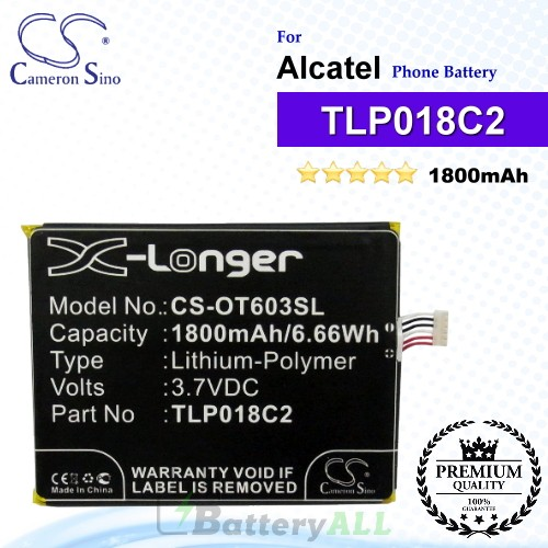 CS-OT603SL For Alcatel Phone Battery Model TLP018C2 / TLp018C4