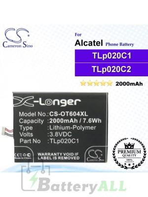 CS-OT604XL For Alcatel Phone Battery Model CAC2000012C2 / TLp020C1 / TLp020C2