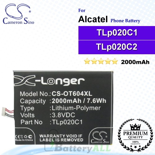 CS-OT604XL For Alcatel Phone Battery Model CAC2000012C2 / TLp020C1 / TLp020C2