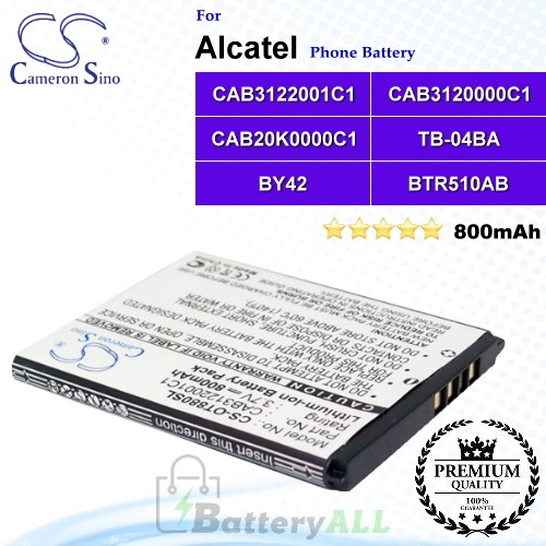 CS-OT880SL For Alcatel Phone Battery Model BTR510AB / BY42 / CAB20K0000C1 / CAB3120000C1 / CAB3120000C3 / CAB3122001C1 / CAB31L0000C1 / TB-04BA