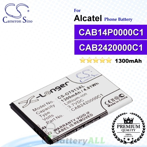 CS-OT913XL For Alcatel Phone Battery Model CAB14P0000C1 / CAB2420000C1