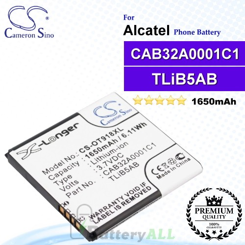 CS-OT918XL For Alcatel Phone Battery Model CAB32A0001C1 / TLiB5AB