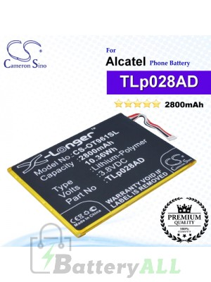 CS-OT961SL For Alcatel Phone Battery Model TLp028AD / TLp034B