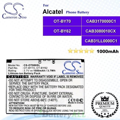 CS-OT980SL For Alcatel Phone Battery Model CAB3170000C1 / CAB31LL0000C1 / OT-BY70