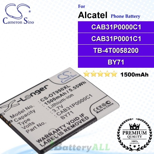 CS-OT990XL For Alcatel Phone Battery Model CAB31P0000C1 / CAB31P0001C1 / TB-4T0058200 / BY71