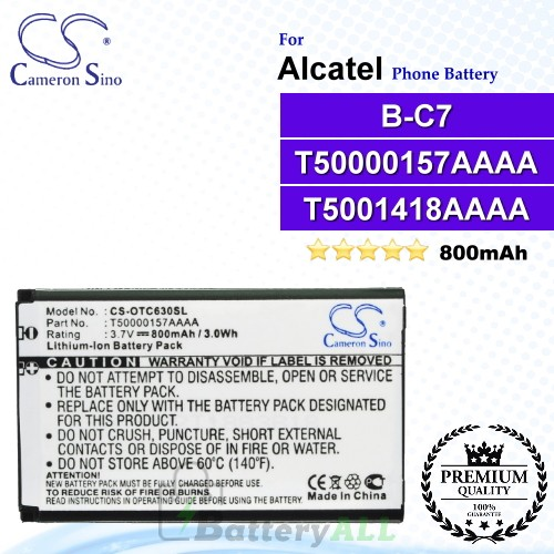 CS-OTC630SL For Alcatel Phone Battery Model B-C7 / T50000157AAAA / T5001418AAAA